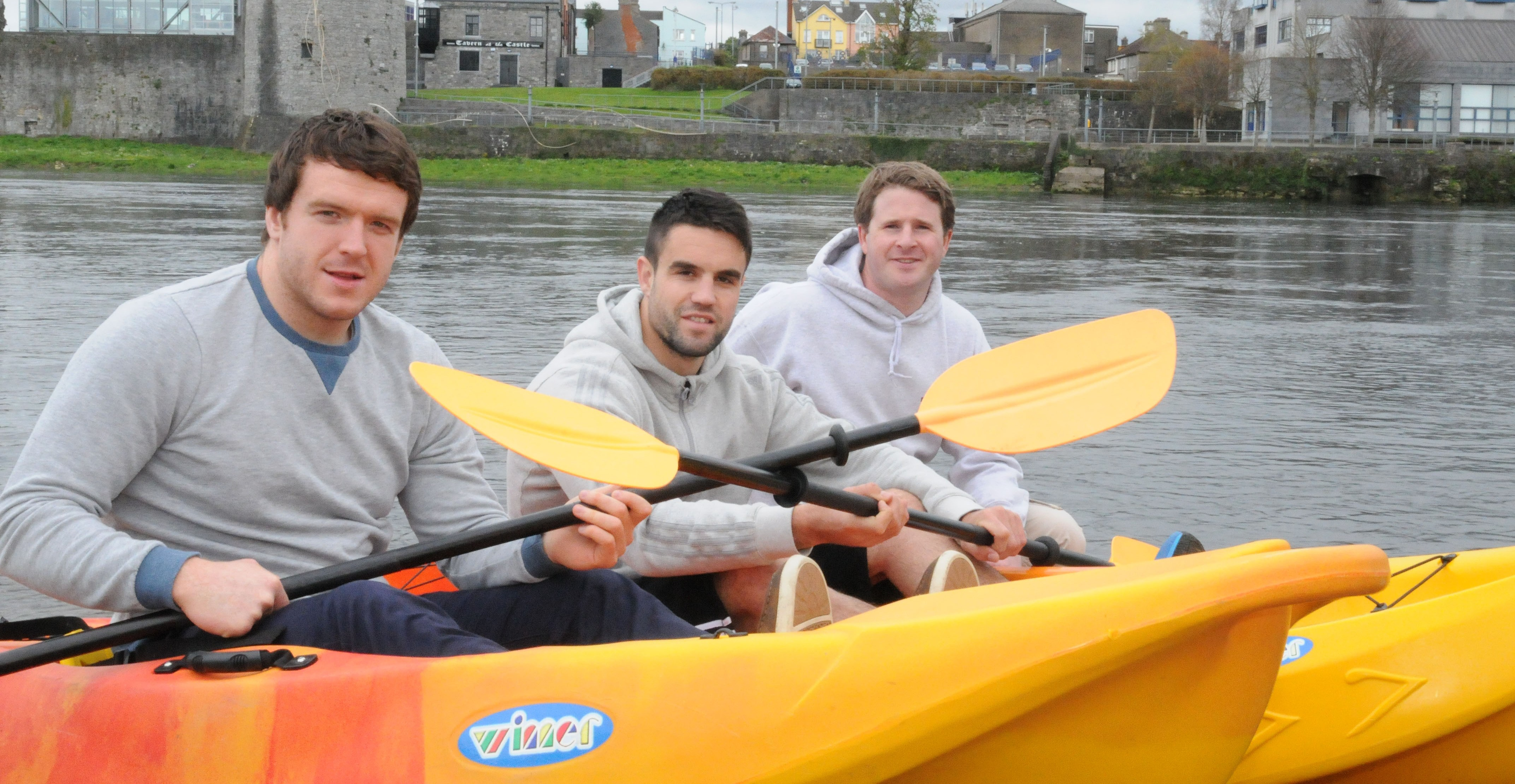 Munster players Mike Sherry, Conor Murray who were Kayaking with Dave Neville of Nevsail watersports info@nevsailwatersports.com